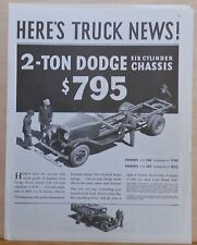 Vintage 1936 magazine ad for Dodge Trucks - 2 Ton truck Six Cylinder chassis