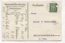 1284 Geschäftspost 1924 MEMMINGEN Heinrich Gerstele(llgöwer & Schutz) Probeanzug