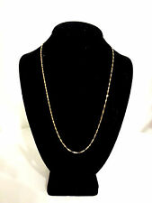 "10k SOLID YELLOW GOLD TWISTED CHAIN NECKLACE ITALY- 22 1/4"", 2mm, 2.8 GRAMS"