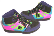 DC Rebound High Tops Skate Shoes Sneakers Women's 8 Neon Pink Purple Teal Green