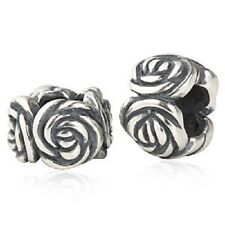 FLOWER ROSE solid 925 sterling silver charm bead fits european bracelet
