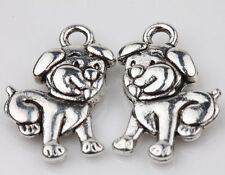 10pcs Tibet Silver Dog Loose Spacer Charms Pendants Jewelry Finding 17x11mm