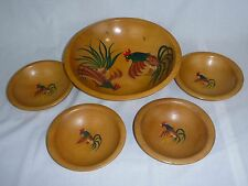 5 Pc Vtg Antique Munising Wooden Bowl Set Rooster Motif Solid Maple Hand Painted