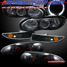 98-02 CHEVROLET CAMARO BLACK HALO HEADLIGHTS + BUMPER + BLACK SMOKE TAIL LIGHTS
