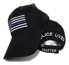 USA Police Memorial Blue Line Police Lives Matter Black Embroidered Cap Hat