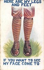 POSTCARD  COMIC  WWI  Tommy  here are my  legs  and  feet...