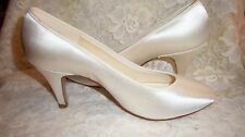 "Bride White Satin Shoes Dyeable Coloriffics Sz 6 1/2 WW 2 1/2"" Heels New No  111"