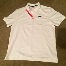 NWT Mens Lacoste Live L!ve BIG CROC France White Short Sleeve Polo Shirt XXL 2XL