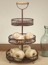 Three Tier Stand with Wooden Handle Farmhouse Primitive Country Decor