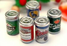 1:12 Dollhouse Miniature 5 bottles of beer cans