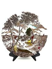 """W H Grindley SUNDAY MORNING Fine Staffordshire 10"""" DINNER PLATE Brown w Colors"""