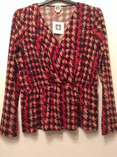 "BNWT "" Anne Klein "" Size 16 Lipstick Multi Red Blouse Top L ( 44 EU)shirt  New"