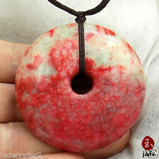 Chinese Big Red Blood donut  jade pendant necklace US SELLER
