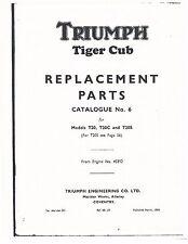 Triumph Parts Manual Book 1959 Tiger Cub T20, T20C & T20S
