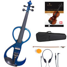 Cecilio Size 4/4 Electric Violin Ebony Fitted ~ Blue Style3