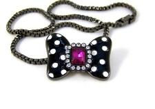 "NECKLACE 17"" CRYSTAL Bow HEMATITE & ENAMEL by MAWI Minnie Mouse DISNEY COUTURE"