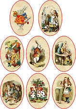 Vintage inspired oval Alice in Wonderland scrapbooking tags paper crafts set 8
