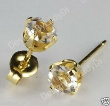 Studex Sensitive Gold 5mm Clear April Gem Birthstone Stud Earrings