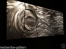 Abstract Brushed Metal Wall Art Silver Wave 3D Contemporary Home Décor