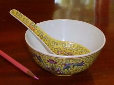 Vintage Mid-Century Chinese Porcelain Flower Soup Bowl & Spoon, Early PROC 1952