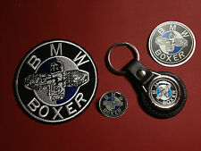 BMW BOXER, LEATHER KEY RING,  BADGE & PATCH SET + FREE BMW PHONE STICKER