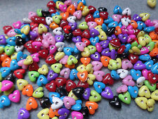 """30 x Acrylic Beads With """"Rhinestone"""" - Heart - 8mm - Mixed Colour"""