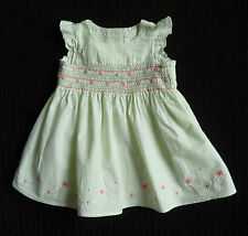 Baby clothes GIRL 0-3m M&S mint green/pink smocked cotton dress flowers SEE SHOP