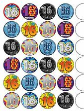 """24 x Happy16th Birthday Mix  1.5"""" PRE-CUT PREMIUM RICE PAPER Edible Cake Toppers"""