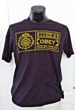 OBEY Hi- Fi Sound May Overload Inferioir Equipment Black T Shirt Large Retro