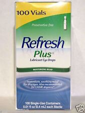 REFRESH PLUS Lubricant Eye Drops, 100 Single Vials *Moisturizing Relief*