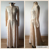 Vintage 1930s 1940s Cream Floral Damask Wedding Dress Gown Button Up Bodice XS