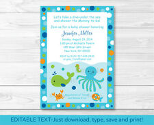Under the Sea Octopus Crab Whale Nautical Baby Shower Invitation EDITABLE PDF