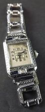 1934 Antique 14Kt White Gold Sapphire hand engraved Abra Watch 15 Jewel