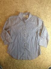 CHICO'S DESIGN WOMENS SHIRT Sz 1 3/4 SLEEVE BLUE PINSTRIPE BUTTON DOWN ked