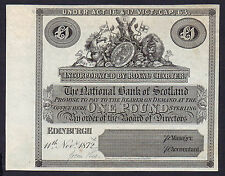1872 £1 NATIONAL BANK OF SCOTLAND  proof