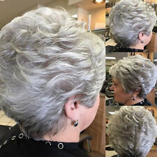 New Grandma Light Gray Short Curl Grey Capless Synthetic Hair Full Wig Party Wig