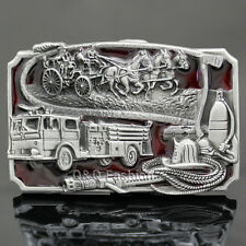 Fire Pumper Horse Carriage Wagon Fighter Fireman Western Silver Belt Buckle