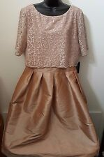 R&M Richards NWT Woman's Champagne Color Formal Prom Evening Party Dress Size 16