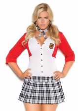 Sexy Schoolgirl Costume 3X/4X Women Plus Halloween Role Play Red Plaid Uniform