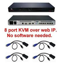 Avocent DSR1021 8 port KVM over IP Switch TESTED +4 DSRIQ-USB USB Cabels Modules