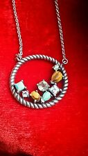 Vintage 925 Sterling Silver precious gemstones necklace hippie boho