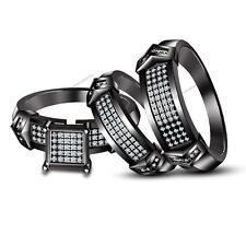His & Her White Stone And Black Gold Finish Trio Set Wedding Engagement Rings 5