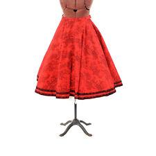 Vintage 50s Red + Black French Toile Novelty Print Full Circle High Waist Skirt