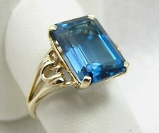 14k Yellow Gold 6ct Emerald Cut London Blue Topaz Gemstone Ring Size 9.75