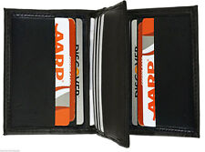 Black Genuine Men Leather Credit Card ID Credit Card 9+ Center Flap Thin Wallet
