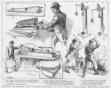 ENFIELD Testing of Bayonets and Cavalry Swords at Arms Factory - Old Print 1886