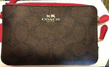 New Coach F66506 Signature Double Corner Zip Wristlet Brown / True Red