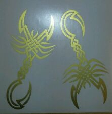 "Tribal Scorpion gold- two 6"" x 3"" vinyl car sticker, decals, graphics wall art"