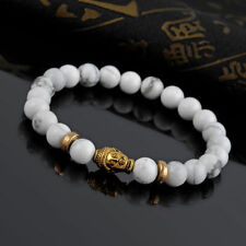 White beaded marble buddha head bracelet gold charm stretch high quality cute