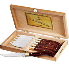Laguiole 6-Piece Stainless Steel Steak Knife Set in Wood Gift Box